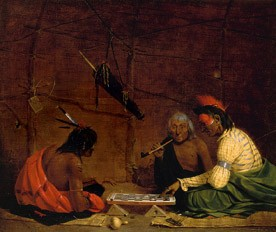 Charles Deas (1818-1867) Winnebagos Indians playing checkers (1842)